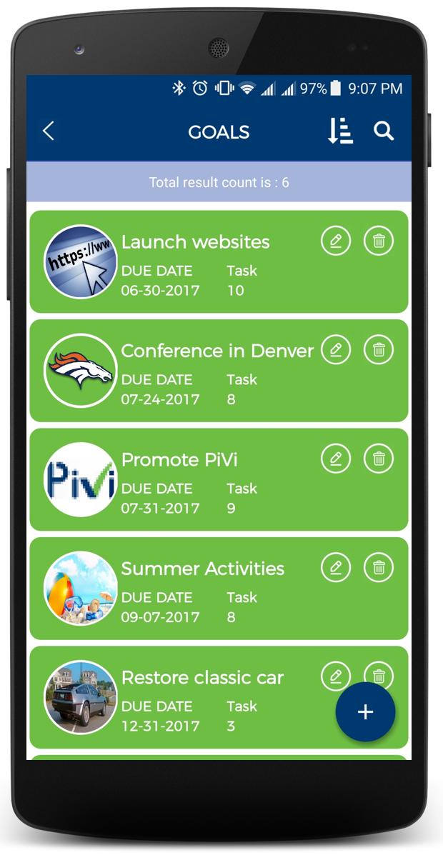 PiVi Goals Screen